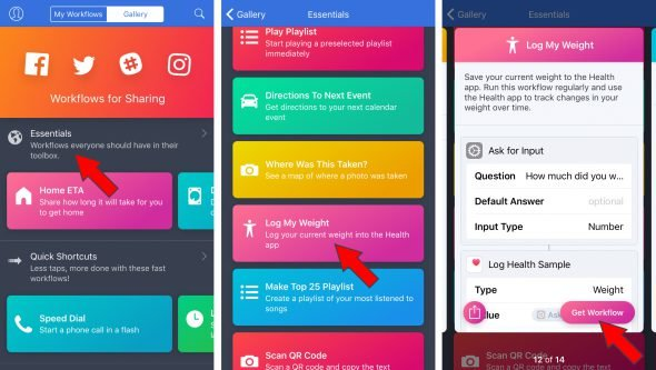 Workflow for iphone
