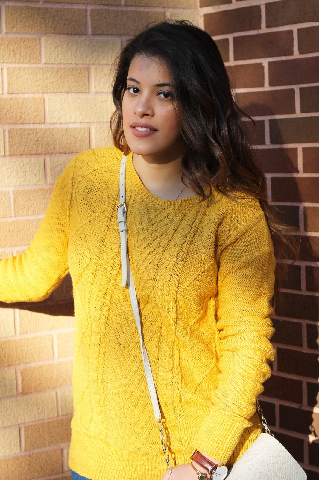 Mustard Yellow Pullover Sweater and Brown Over the Knee Boots ...