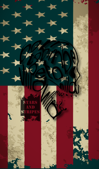 Typography SKULL. .stars and stripes