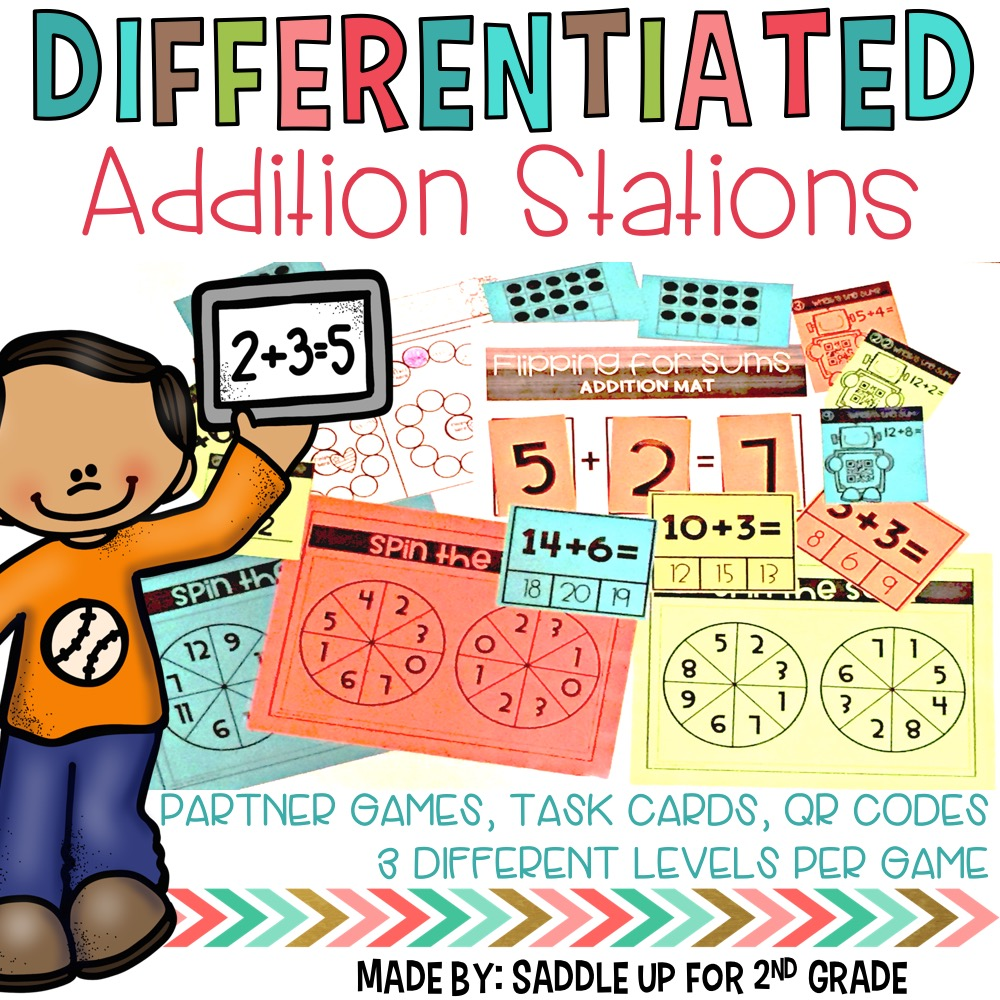 This is a set of 8 differentiated subtraction games to use all year long in your classroom. It features partner games, task cards, and QR codes. Each game has 3 leveled sets and all are in black white so that you can print onto colored paper for differentiation.