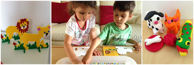 Children doing crafts in the summer holiday