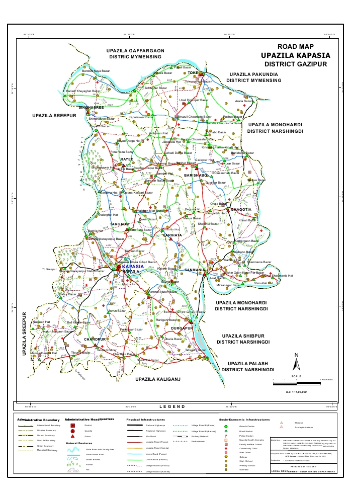 Kapasia Upazila Road Map Gazipur District Bangladesh