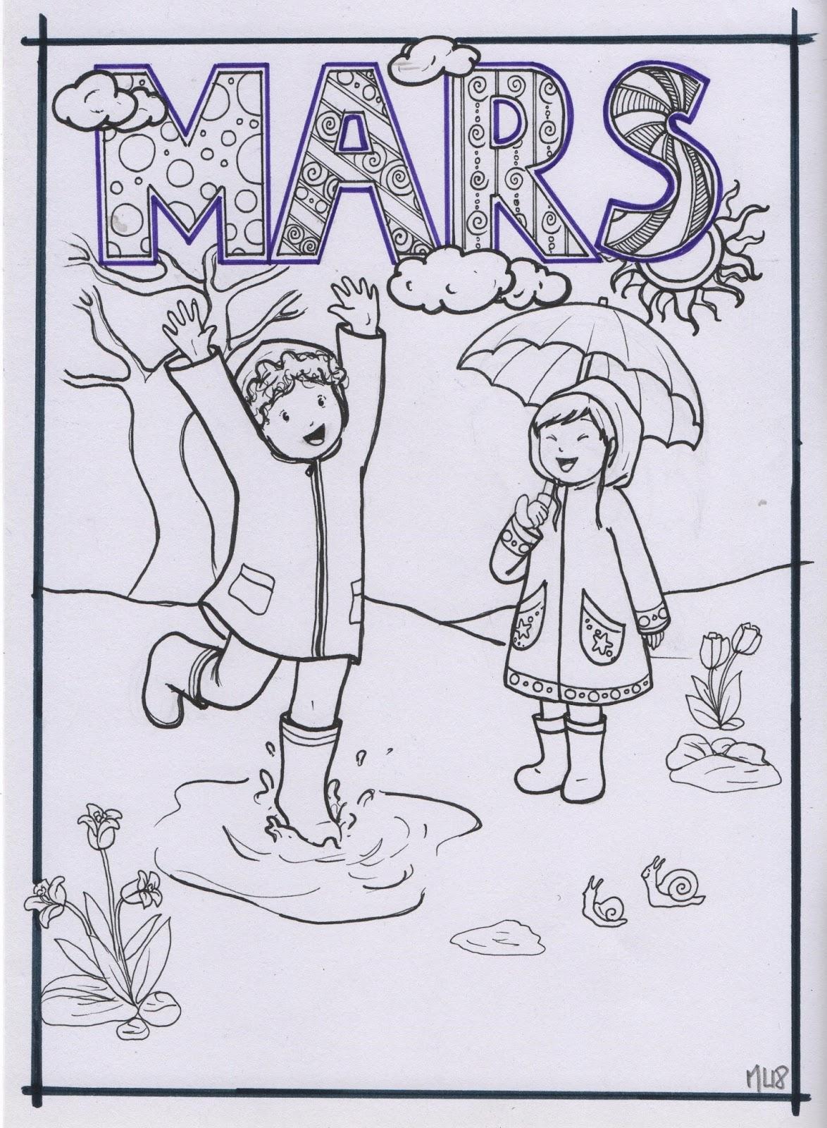 Bibouche En Classe Coloriage Du Mois De Mars