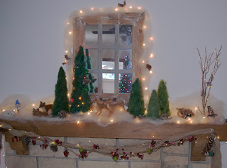 Woodland Fireplace Mantel Christmas