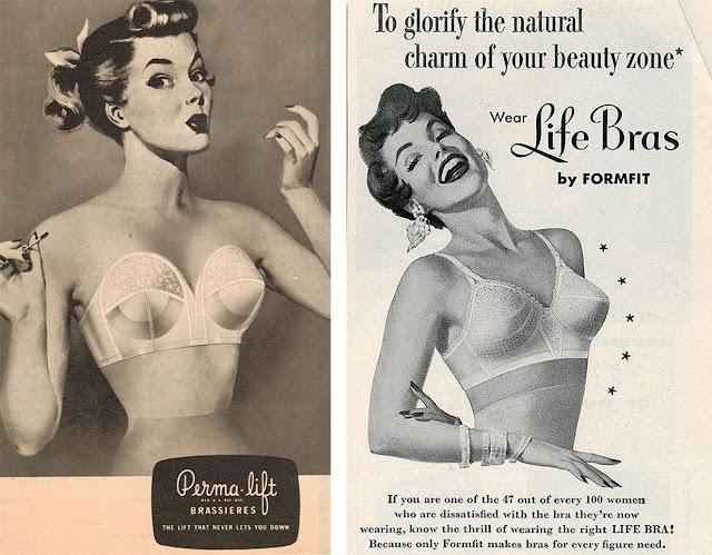 Lingerie de cone, nos anos 50, propaganda de revistas