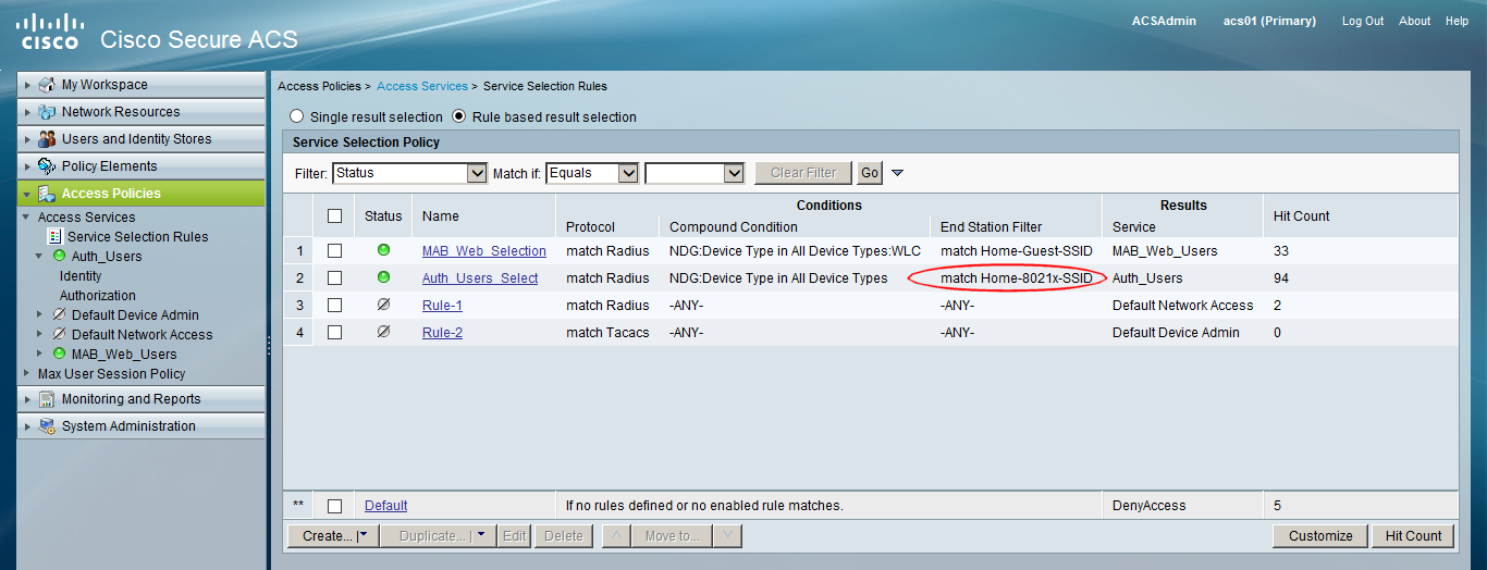WifiNigel: Cisco ACS Policy Decisions Based on SSID Name
