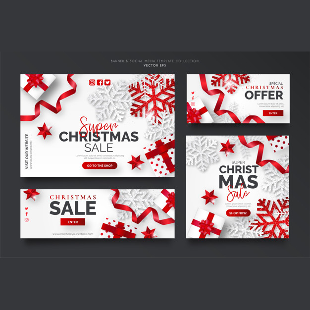 White and red christmas sale banner template collection Free Vector