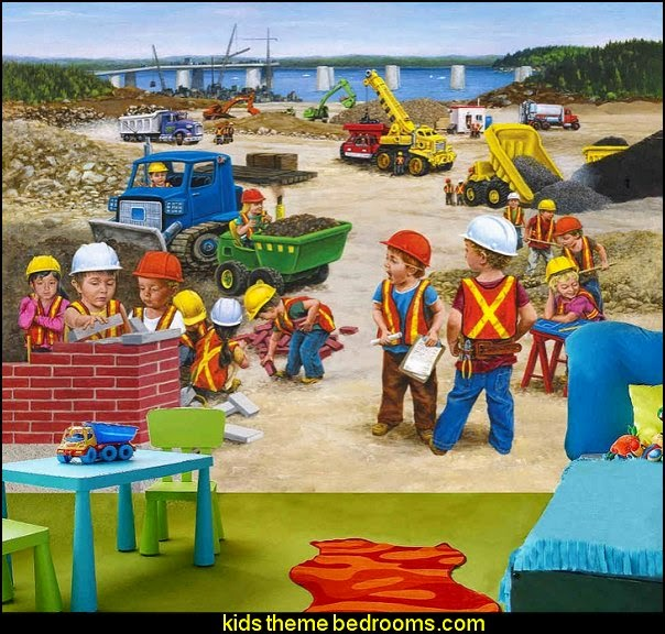 Children Construction Site mural construction theme bedrooms construction trucks theme bedroom  -  Lego theme bedroom decorating - boys bedrooms construction themed LEGO furniture  - under construction building site - construction themed  bedroom decor - Lego bedroom decor ideas - primary color bedroom ideas - Tool belt theme
