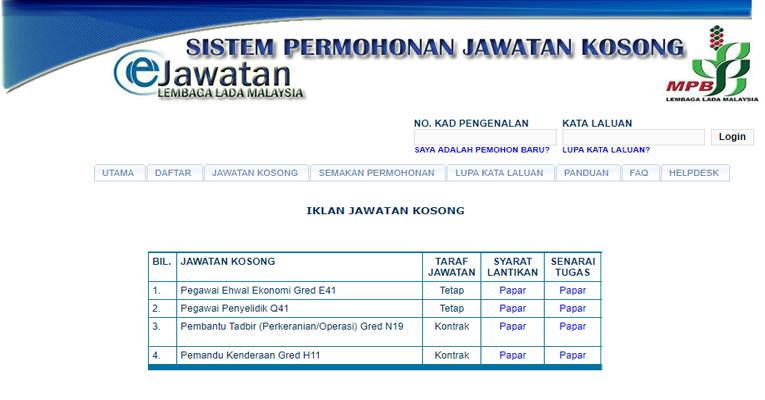 Jawatan Kosong di Lembaga Lada Malaysia MPB