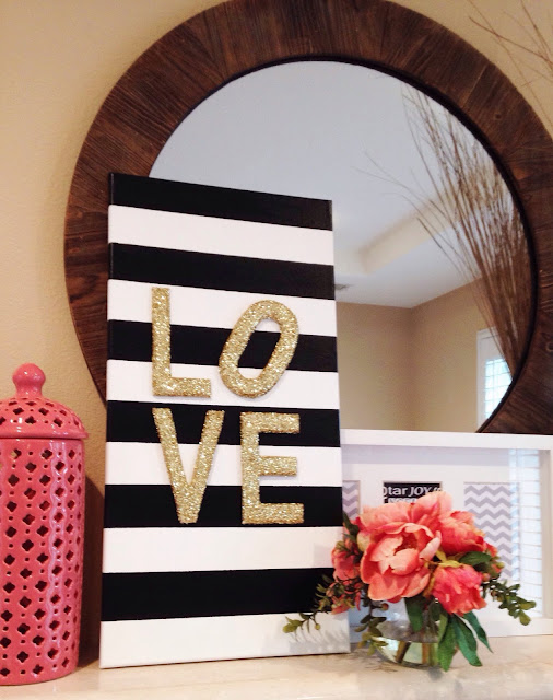"Diy glitter ""love"" canvas"
