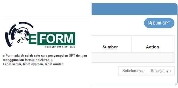SPT Tahunan via e-Form DJP Online