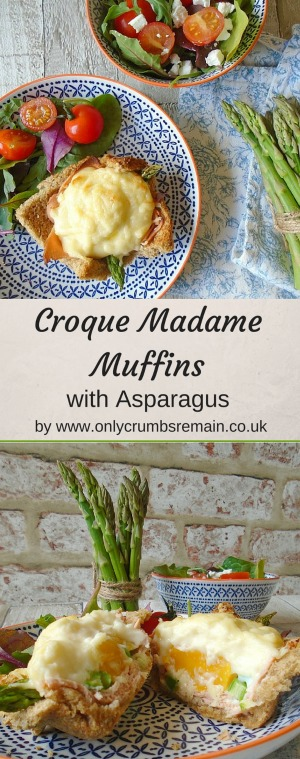 Vegetarian Croque Madame Muffins with Aspragus.  The Asparagus works beautifully in these fun savoury muffins alongside the faux ham, egg and cheese.