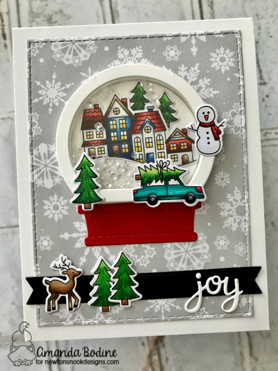 Snow Globe Christmas Card by Amanda Bodine | Snow Globe Scenes Stamp Set  and Snow Globe Shaker Die Set by Newton's Nook Designs #newtonsnook