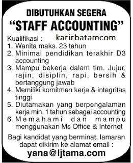 Lowongan Kerja PT. LJ Tama Indonesia