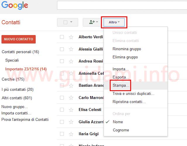 Google Contatti stampare lista contatti importati da Android