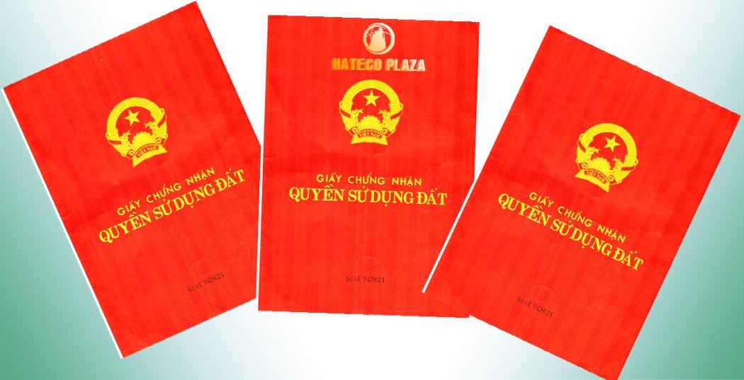 Giấy chứng nhận quyền sử dụng đất của Hateco Huỳnh Thúc Kháng