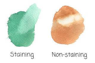 guide to watercolor paint properties | staining and non-staining watercolor | transparent and opaque watercolor | Read more → http://schulmanart.blogspot.com/2017/03/guide-to-understanding-watercolor-paint.html
