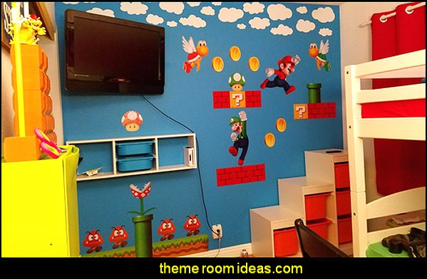 Super Mario Brothers Wall Stickers  Gamer bedroom - Video game room decor - gamer bedroom furniture - gamer wall decal stickers - Super Mario Brothers Wall Stickers