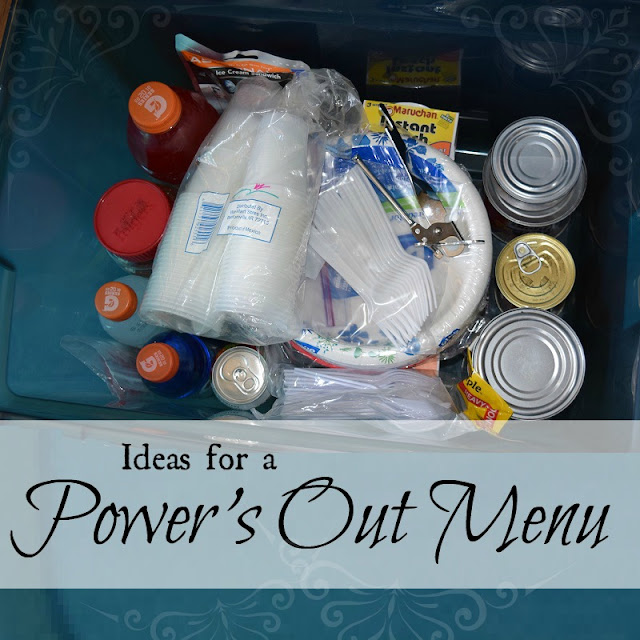 Be prepared for a power outage with these suggestions for easy-to-prepare menus.
