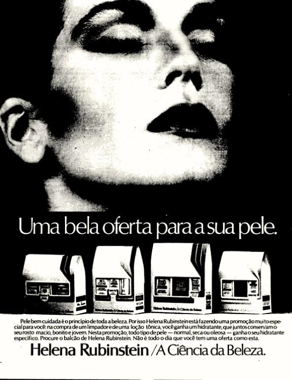 Helena Rubinstein.  moda anos 70; propaganda anos 70; história da década de 70; reclames anos 70; brazil in the 70s; Oswaldo Hernandez