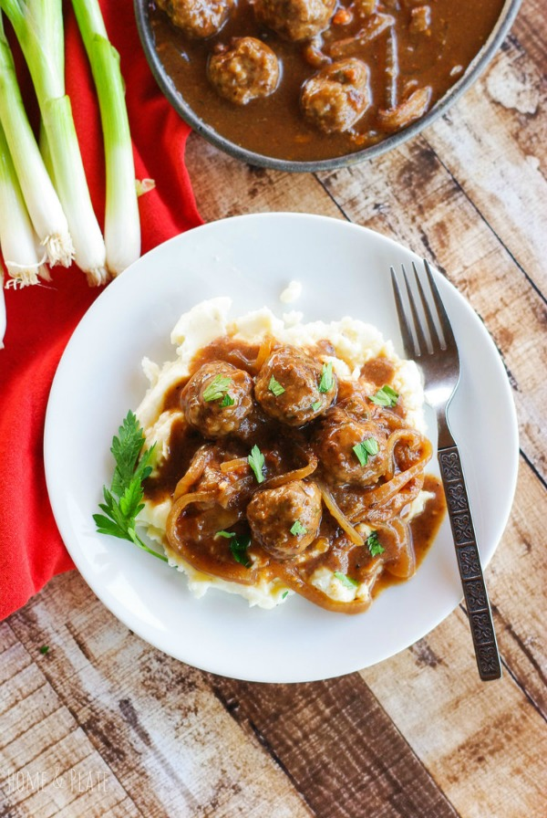 Salisbury Steak Meatballs with French Onion Gravy from Home and Plate