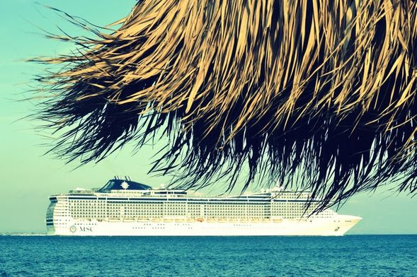 Cruise ship as viewed from the beach