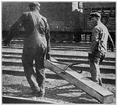 Climbing My Family Tree: Railway workers drag a railway cross tie using tie tongs, Practical track maintenance, Track series, vol. II, Railway educational press, inc., 1916