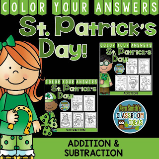 Color Your Answers - St. Patrick's Day - Addition and Subtraction