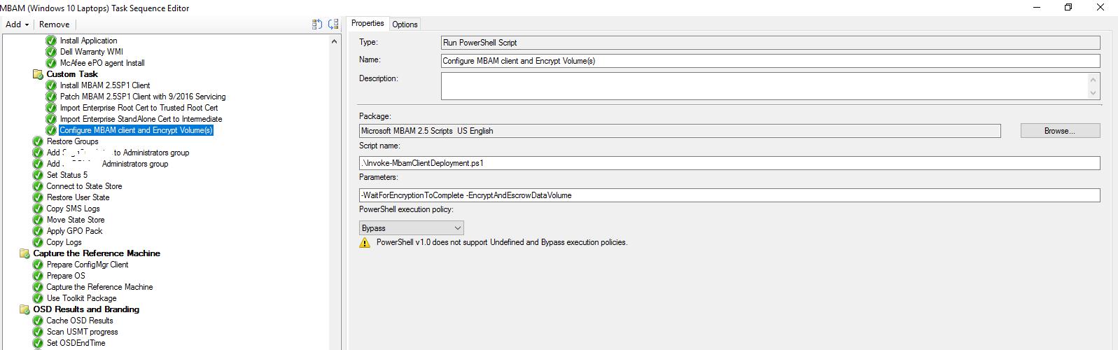 Deploy Bitlocker using MBAM 2 5SP1 (Integrated w/SCCM CB1610