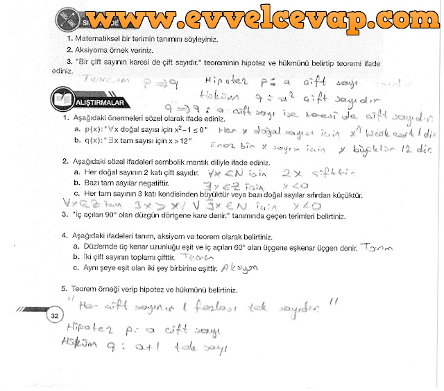 9. Sınıf Ödev Yayınları Matematik 32. Sayfa Cevapları
