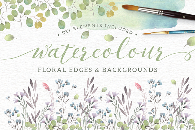 Watercolor floral edges + backgrounds par Lisa Glanz