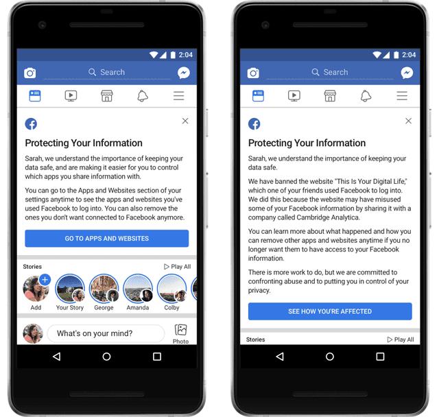 Facebook thông báo đến những tài khoản bị lộ thông tin cho Analytica - Ảnh 1