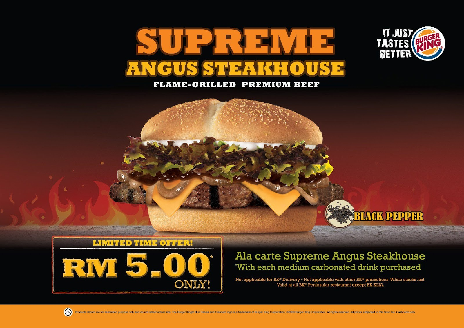 Carte Burger King.Ala Carte Burger King Supreme Angus Steakhouse Black Pepper