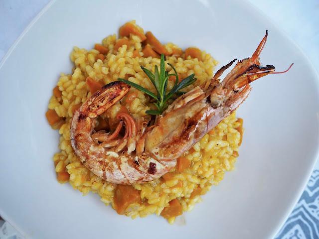 recept na italské dýňové risotto s krevetami