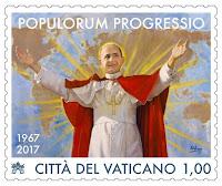 """Sello conmemorativo de la encíclica """"Populorum progressio"""" con pintura de Raúl Berzosa"""