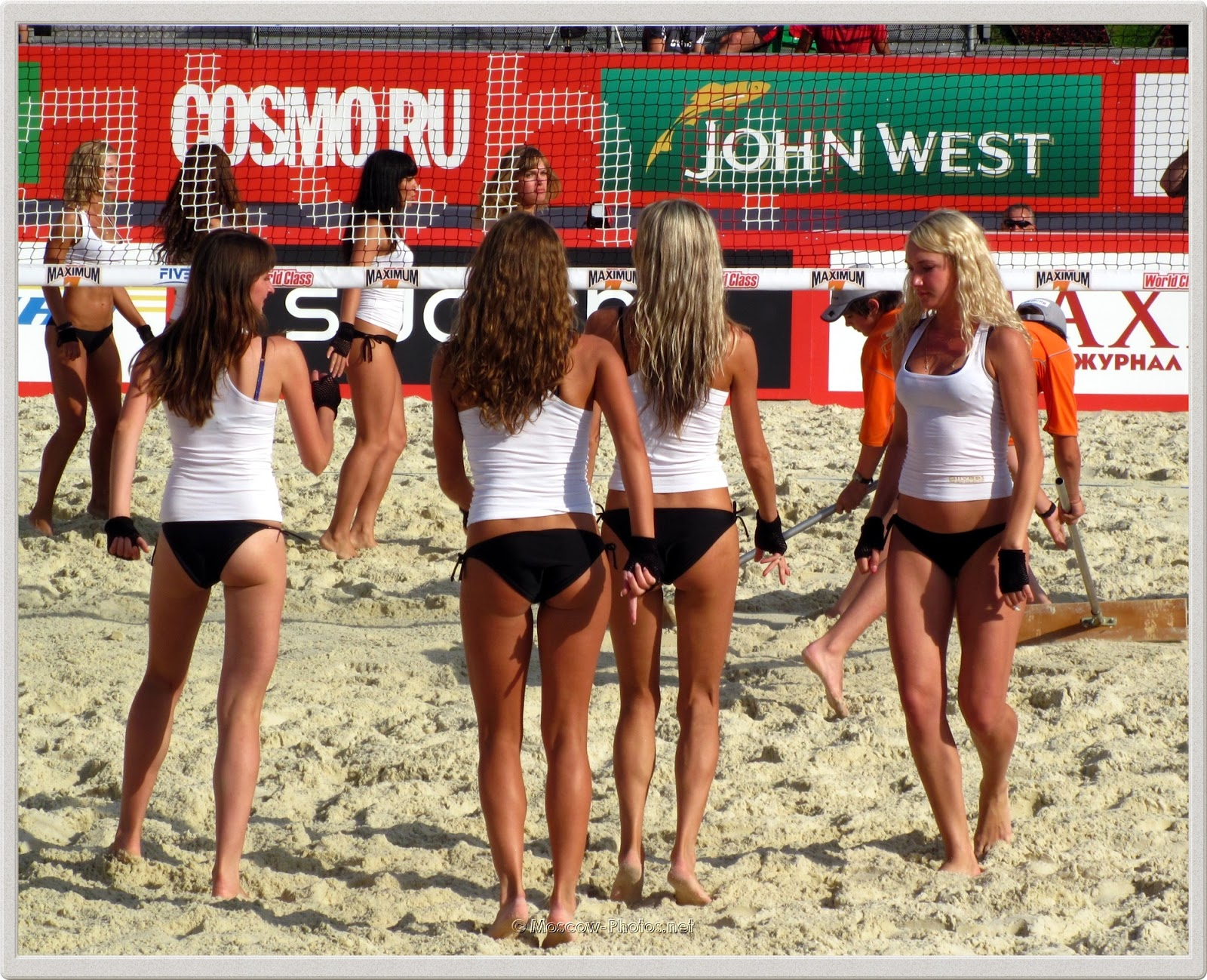 Beach Volleyball Cheerleaders In White Tops