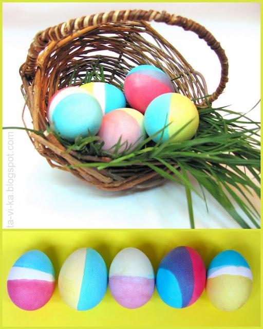 Двухцветные рисунки на яйцах