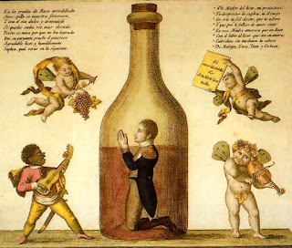 """La """"casualidad"""", con sus profundos Misterios,  está revelándome uno de los secretos menos  secretos de España: que cuando los  españoles se encomiendan a San Alcohol,  se agarran a la Botella y ya no la sueltan."""