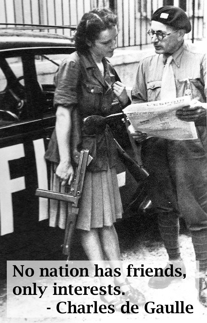 "Armed French Resistance fighters read a Newspaper article titled ""hope"" WWII"
