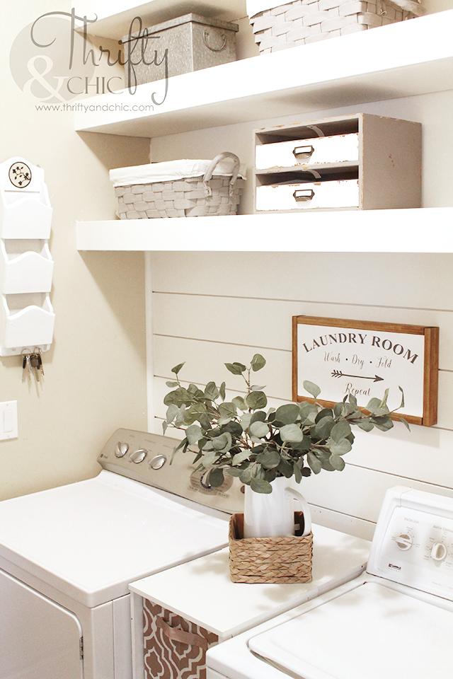 DIY Laundry Room Shelves And Shiplap Wall | Small laundry room organization and shelf ideas | DIY modern farmhouse laundry room decor and decorating ideas