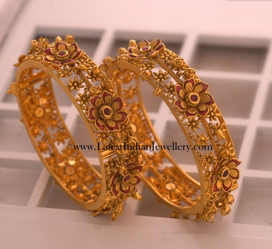 Floral Design Latest Gold Bangles