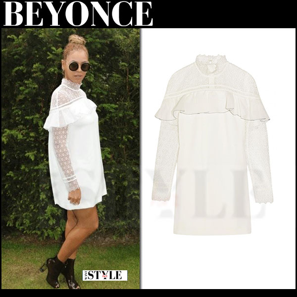 Beyonce in white lace self portrait mini dress and black sunglasses the row what she wore wimbledon
