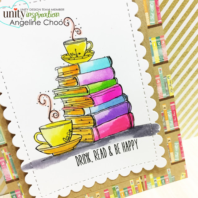 Unity Stamp: DT Tuesday with Angeline - Drink, Read & Be Happy #unitystampco #scrappyscrappy #stamp #stamping #card #cardmaking #papercraft #chapterone #happynewyear #watercolor