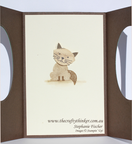 Stampin Up, #thecraftythinker, Foxy Friends, Cat, Double Porthole card, Fun Fold, Stampin Up Australia Demonstrator