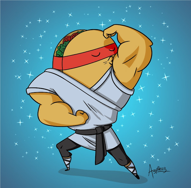 A muscle-bound ninja with a taco head in a karate outfit.