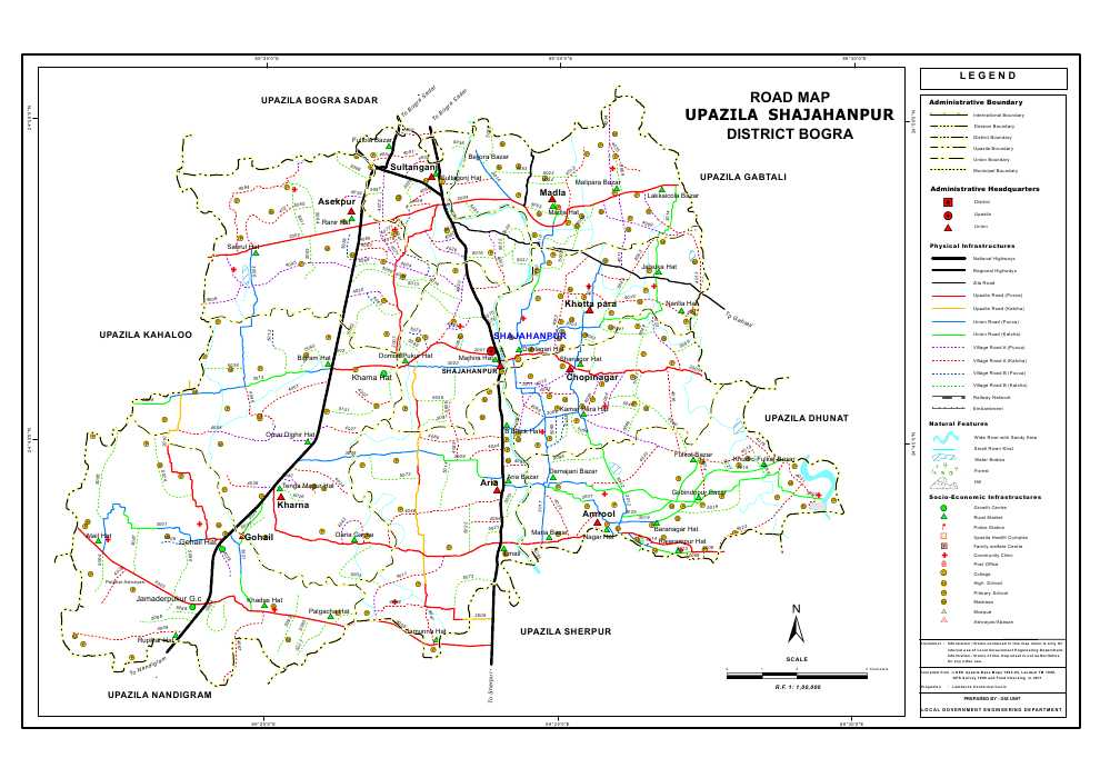 Shajahanpur Upazila Road Map Bogra District Bangladesh