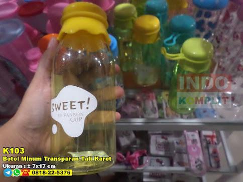 Botol Minum Transparan Tali Karet