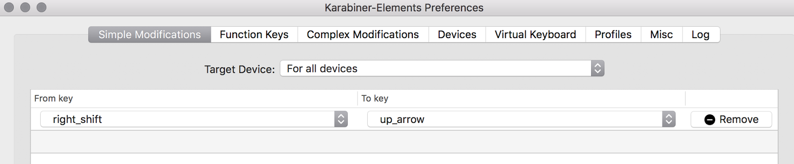 Atucom: Remap Right Shift To Up Arrow OSX
