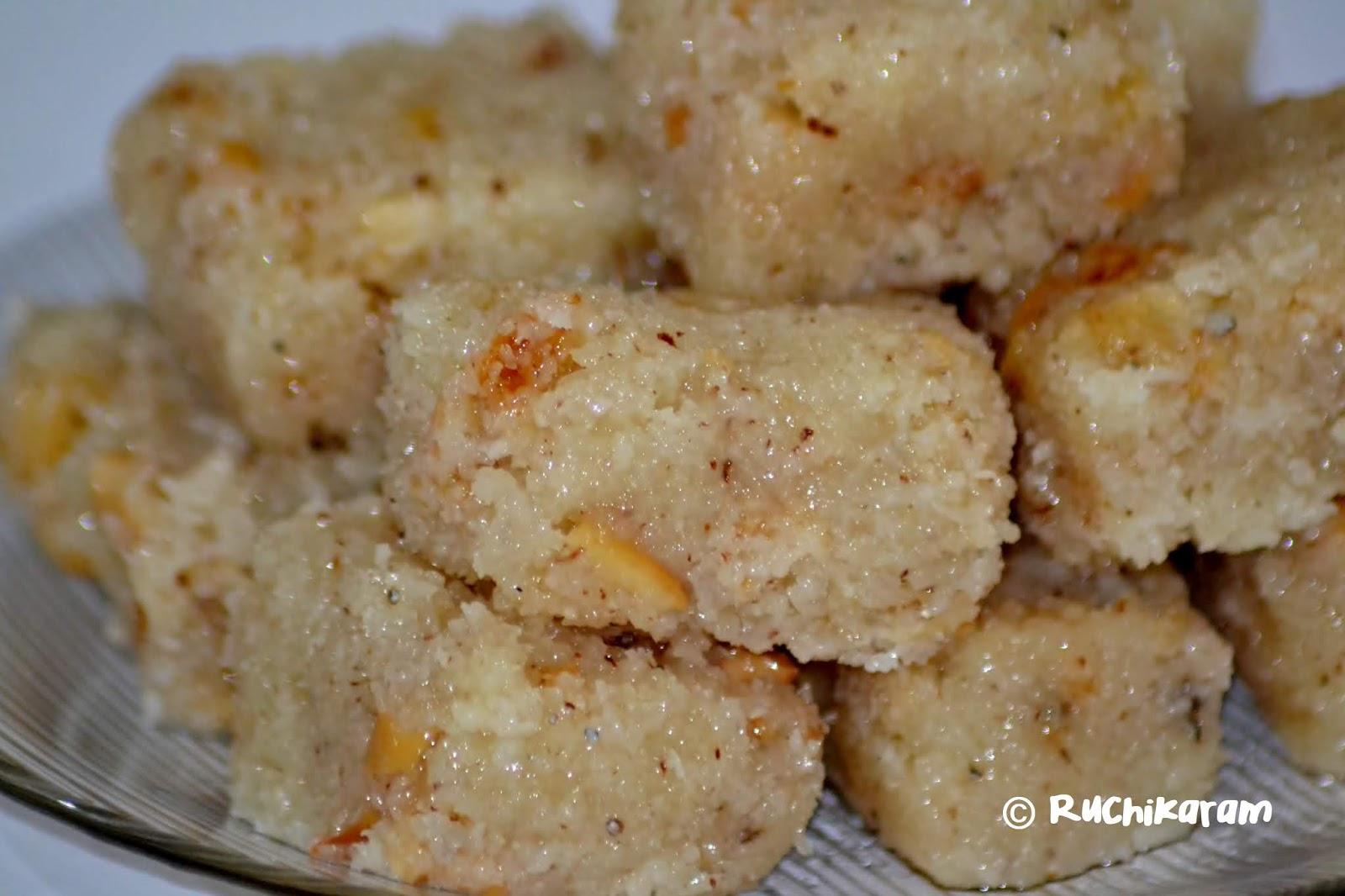 Ruchikaram: Coconut Burfi | Easy and Quick Coconut Burfi