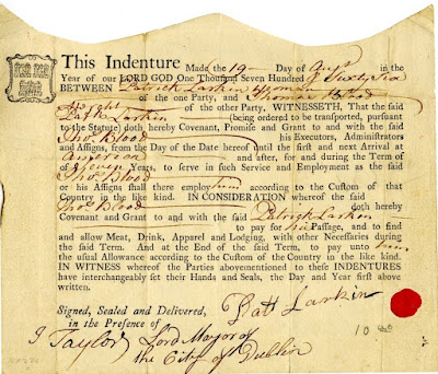 Indenture Between Patrick Larkin & Thomas Blood, August 17, 1766.